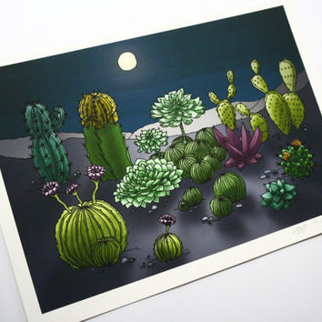 Cacti in moonlight Illustration Art print hand sighed and dated on archival paper with archival inks.