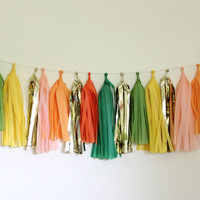Tissue Tassel Garland-18 tassels-Jungle