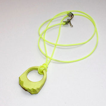 Ceramic Necklace, Clay Necklace, Green Neon Necklace, Statement Jewelry, Boho Jewelry, Designer Jewellery, Womens Necklace, Yellow Necklace