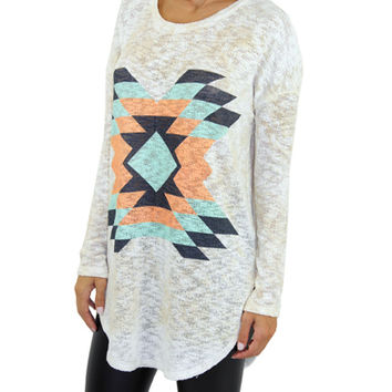 Cream Tribal Print Top