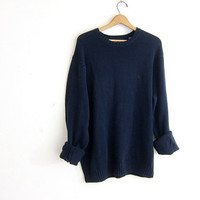 vintage blue sweater. oversized slouchy pullover sweater. cotton sweater size L
