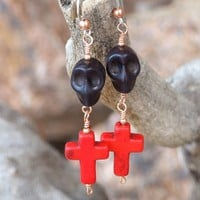 Black Skulls Red Crosses Handmade Earrings Halloween Day of the Dead