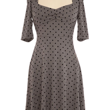 Polka Dot Pin Up Dress in Grey