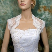 Ivory sleeveless bridal alencon lace wedding bolero by alexbridal