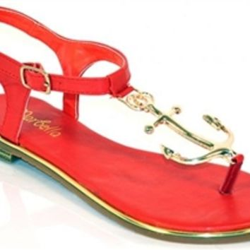 Anchor Away Sandals - Red