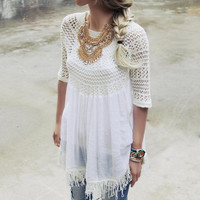 Feather Grass Tunic in White
