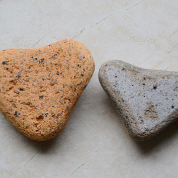 Two Hearts by Mother Nature - Surf Tumbled Beach Bricks - Natural Heart Shapes - Art Craft Supply - Valentine Gift