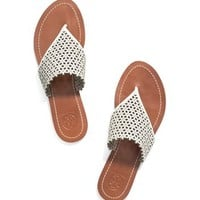 Tory Burch Floral Perforated Flat Thong Sandal