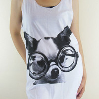 Dog Glasses Shirt -- Dog Shirt Animal T-Shirt White T-Shirt Women T-Shirt Tank Top Women Tunic Vest Sleeveless T-Shirt Dog T-Shirt Size M
