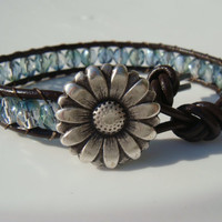Green Teal Bead and Leather Bracelet, Flower Button