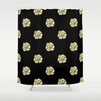 Painted Cream Roses Shower Curtain by Kat Mun