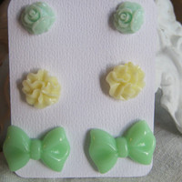Set of  3 Mint Green Bow Rose and Pastel Yellow Floral Earring Studs