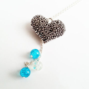 Beautiful silver long heart necklace blue glass beads gift for her valentines mothers day gift