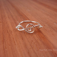 Treble Clef Ring, Sterling Silver, 18 Gauge