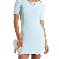Scalloped Open Back Bodycon Dress by Charlotte Russe - Baby Blue
