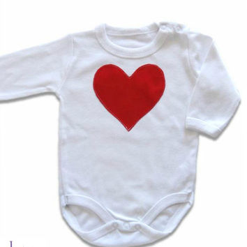 Red Heart Baby Girl Onesuit,  Valentine's Day Onesuit