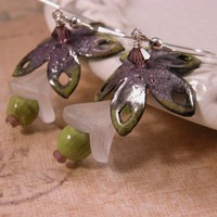 Handmade earrings, purple, lime enamel, glass flower, sterling silver