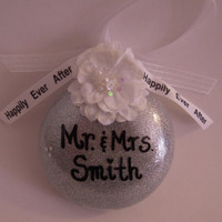 Personalized Mr. & Mrs. Glass Wedding Ornament