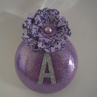 Purple Personalized Glitter Glass Ornament