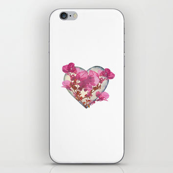 Heart Shaped with Flowers Digital Collage iPhone & iPod Skin by DFLC Prints