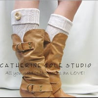 NEW TAN Boot topper cable knit w/ real wood button cuff for boots stocking stuffers secret santa gifts Catherine Cole Studio Made in USA