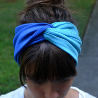Sky Blue and Royal Blue Turban Headband