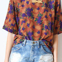 tea and tulips boutique - one of a kind vintage.  silk falltime blouse