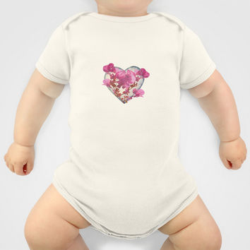 Heart Shaped with Flowers Digital Collage Baby Clothes by DFLC Prints