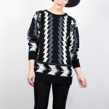 Vintage 80s Sweater Black Blue SOUTHWESTERN Knit Jumper 1980s Boyfriend Sweater New Wave Mod South Western Aztec Print Pullover S M Medium