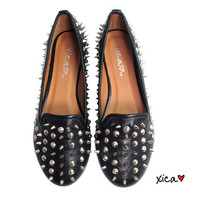 Spiked Round Toe Flats BLACK from CherryKreations21