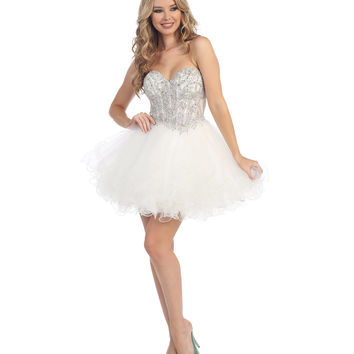 Preorder - Off White Strapless Beaded Sweetheart Dress Prom 2015