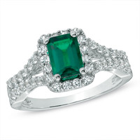 Emerald-Cut Lab-Created Emerald and White Sapphire Ring in 10K White Gold