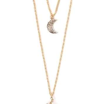 With Love From CA Moon Crystal Layered Necklace - Womens Jewelry - Gold - One