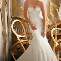 Lavish Crystal Embellished Lace Mermaid Gown Has Strapless Bodice and Train