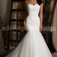 Simplistic Trumpet Wedding Dress Wrapped Style Timeless and Elegant Gown