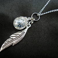 Crystal Feather Leaf Fried Marble Nature Boho Necklace