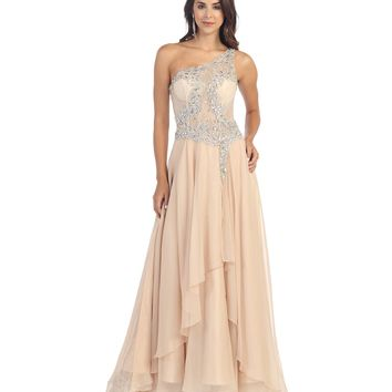 Nude Sheer Lace Bodice Gown Prom 2015