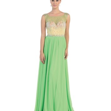 Green Jeweled Bodice Gown Prom 2015