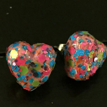 Pink Confetti Candy Heart Stud Earrings made with Sculpey clay