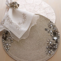 "Kim Seybert - ""Antique Flower"" & Capiz-Shell Table Linens - Horchow"