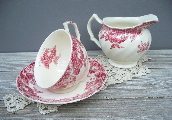 vintage tea cup and saucer johnson brothers by KatyBitsandPieces