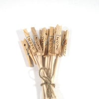 Table number holders. Woodburned with WORD of your choice. Wedding decorations and favors.