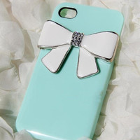 iPhone 4 case cover Tiffany bowtie Swarovski crystals Rhinestone Handmade jewel iPhone case Studded Bling decorate iPhone 4s case