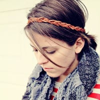 The Boho Band, Bohemian Braid Headband in Cognac, Indie, Tribal Style, elastic closure, Braided Headband