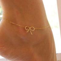 Bow Anklet , Bow Gold Anklet , Gold Anklet , Charm Anklet , Bow Ankle Bracelet