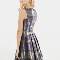 Faded Horizon  Dress with Pleated Skirt&High Neckline