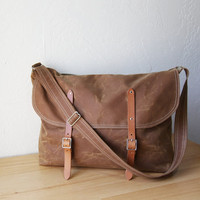 A Messenger Bag in Saddle Brown Waxed Canvas