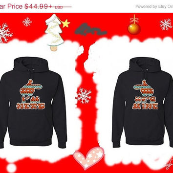 Valentine Sale Disney Mickey Hands pointing I'm Hers and He's Mine Native American theme Matching Couples Hoodies. Personalize by adding nam