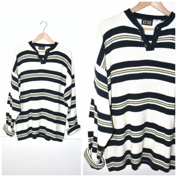 early 90s GRUNGE sweater striped button down UNISEX slouchy relaxed fit pull over jumper OS