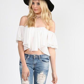 Bell Short Sleeved Crop Top - White - White /
